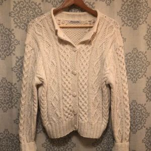100% Alpaca Cream Colored Cardigan
